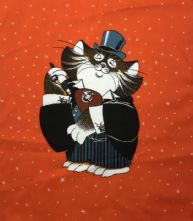 100% Cotton Dapper Cat on Orange Print Panel